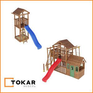 Деревянные детские игровые комплексы, площадки